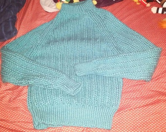 Raglan sweater turquoise cables for teenager 13-14