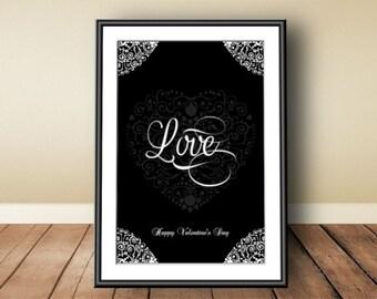 St. Valentine, digital download, instant download, printable art, typographic print, love print, happy Valentine's Day, Valentine's print