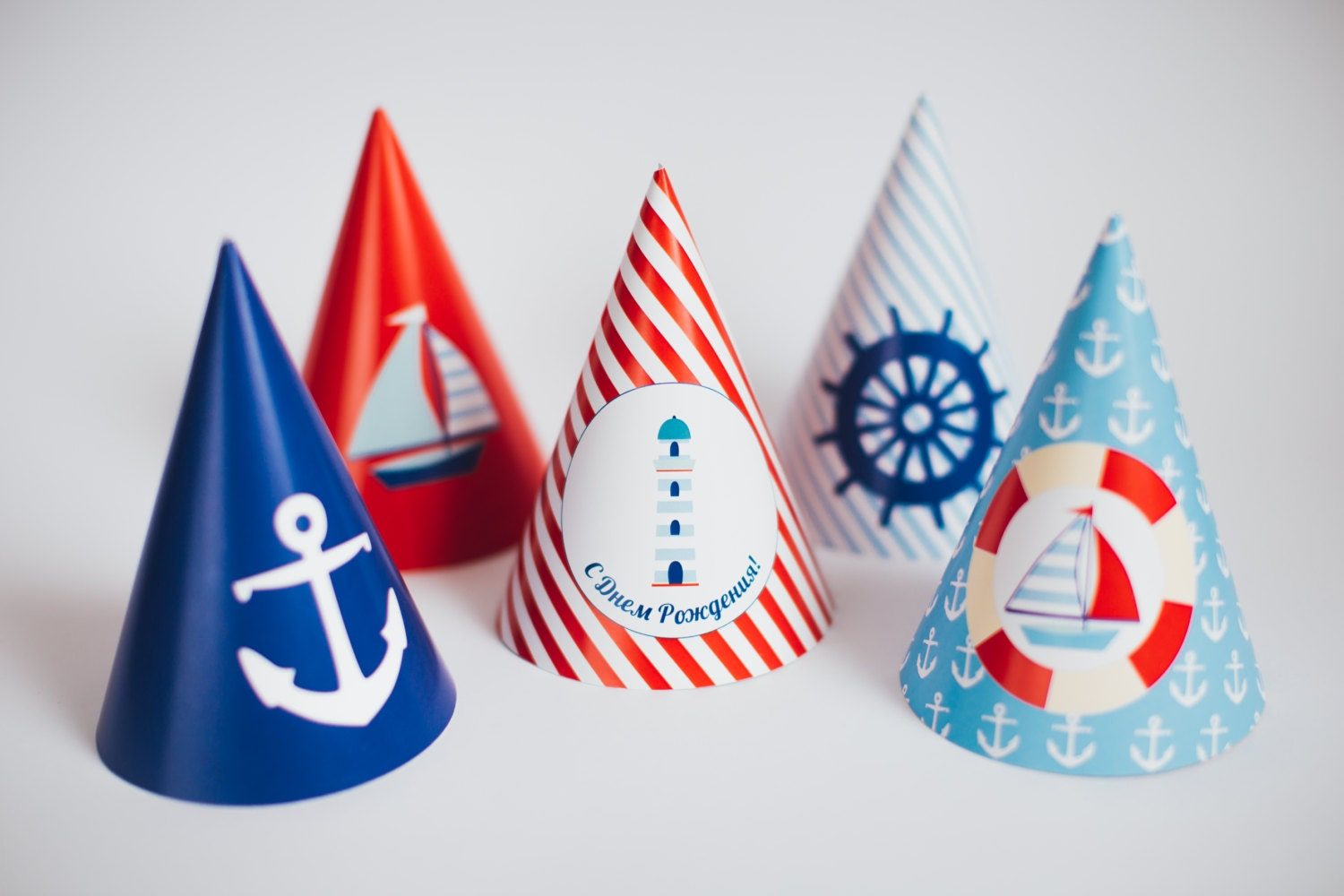 Nautical happy birthday party hats sailor boys party party