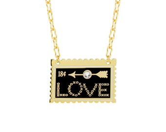 Love Stamp Necklace with Black & White Enamel