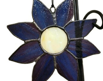 Stained Glass Sunflower Suncatcher, Purple and Blue Sunflower, Handmade