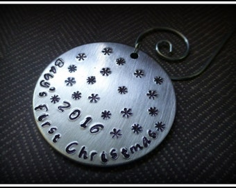 Personalized Baby's first Christmas ornament  hand stamped ornament custom ornament keepsake ornament metal ornament