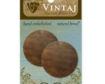 Metal Stamping Blanks 34mm Circle Stamping Blanks Vintaj Made in the USA 2 pieces