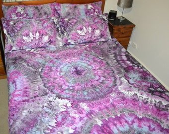 """Ice Tie Dye Bed Quilt Cover Set """"Angela"""" 100% Cotton"""