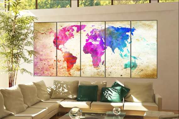 world map large art print  print on canvas wall art world map large art print artwork world map large art print office decor