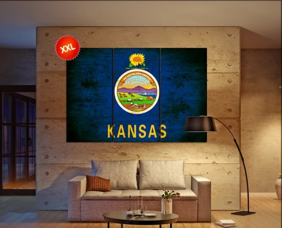 kansas state flag  canvas kansas state flag wall decoration kansas state flag canvas art kansas state flag large canvas