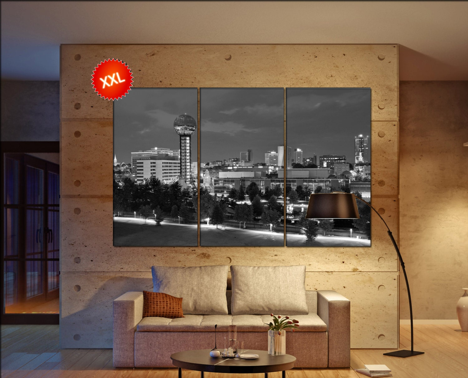 Knoxville Canvas Art Prints Large Wall Black White Print Tennessee USA City Cityscape Skyline Office Decor