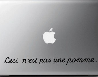 """Stickers decal MAGRITTE, """"Ceci n'est pas une pomme"""",  suitable for MAC - MacBook pro air 11, 13, 15 and 17''"""