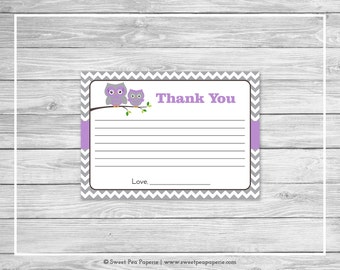Owl Baby Shower Thank You Cards - Printable Baby Shower Thank You Cards - Purple Owl Baby Shower - Shower Thank You Cards - Owl Baby - SP136