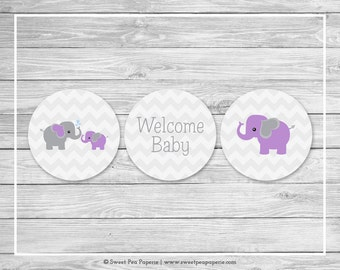 Elephant Baby Shower Cupcake Toppers - Printable Baby Shower Cupcake Toppers - Purple and Gray Elephant Baby Shower - Cupcake Toppers- SP116