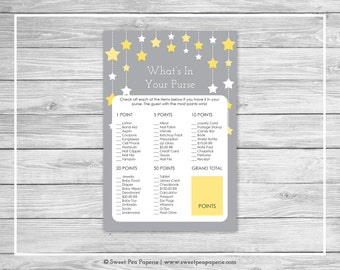 Twinkle Little Star Baby Shower What's In Your Purse Game - Printable Baby Shower What's In Your Purse - Twinkle Little Star Shower - SP117