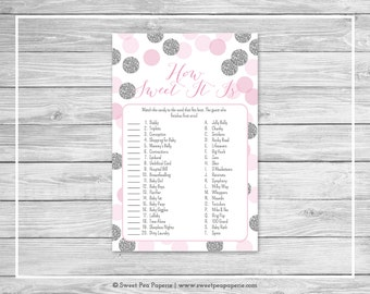 Pink and Silver Baby Shower How Sweet It Is Game - Printable Baby Shower How Sweet It Is Game - Pink and Silver Glitter Baby Shower - SP123