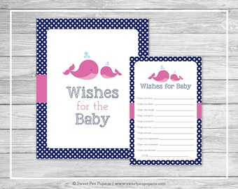 Whale Baby Shower Wishes for Baby Cards - Printable Baby Shower Wishes for Baby Cards - Pink Whale Baby Shower - Baby Wishes - SP128