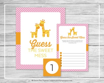 Giraffe Baby Shower Guess The Mess Game - Printable Baby Shower Guess Sweet Mess Game - Pink Giraffe Baby Shower - Diaper Game - SP129