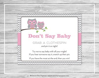 Owl Baby Shower Don't Say Baby Game - Printable Baby Shower Don't Say Baby Game - Pink Owl Baby Shower - Don't Say Baby - Owl Shower - SP134