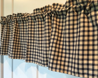 Navy Blue and Tan Checked Primitive Country Curtain Valance