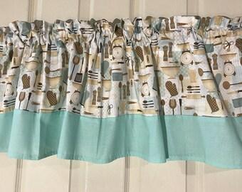 Kitchen Appliance Curtain valance tan and aqua with polka dot border