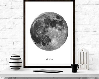 La Luna ,wall art, home decor ,minimalism, graphic design , nordic design ,scandinavian design, moon