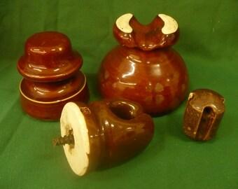 Set of 4 Brown Ceramic Insulators