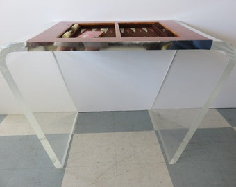 Waterfall Lucite And Wood Mid-Century Modern Backgammon Game Table With Backgammon Chips And Dice.