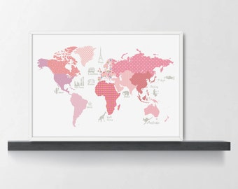 Black and white world map poster monochrome nursery girls room decor world map poster wm305a pink world map kids girls gumiabroncs Gallery