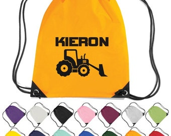 Personalised Digger Themed Drawstring Bag. Nursery, School, Craft Bag  * Free Delivery *