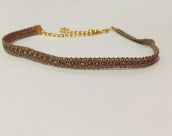 Thin Golden Brown Choker Necklace
