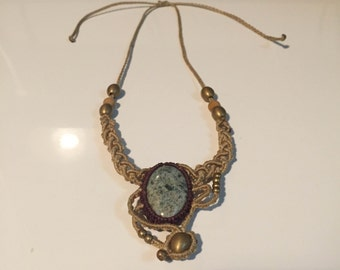 Handmade cream woven thread necklace with gemstone and brass beads