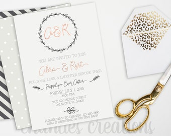 Engagement Party Printable Invitation. Simple Laurel Engagement Party Invitation.