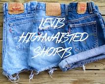 Levis High Waisted Shorts Custom