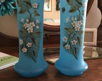 Stunning Vintage Blue Painted Satin Glass Vase Set