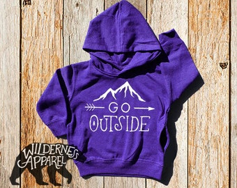NEW ~ Go Outside ~ Kids Toddler Hoody Sweatshirt ~ Available In Vintage Colors