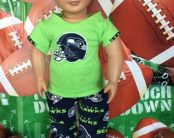 Seattle SEAHAWKS! 18 inch Doll Clothes, Handmade, Fits all 18 inch dolls, 2 Pc Outfit