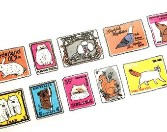 Aimez le style wide - Animal stamp washi tape (T00227)