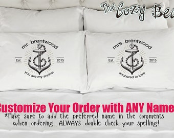 Personalized Mr. and Mrs. Custom Printed Pillow Cases (Set of 2) Wedding, Anniversary, Bridal Shower Gift