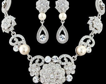 Crystal and Pearl Bridal Jewelry Set, Crystal Pearl Necklace and Earrings,Bridal Jewelry, Vintage Style Necklace Set,