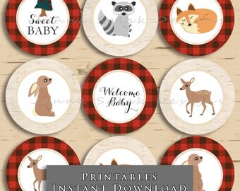 Woodland Creatures Cupcake Toppers Lumberjack Plaid Baby Shower Party DIY Printable INSTANT DOWNLOAD WC001