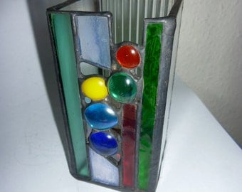 Stained glass pen holder. ペンたて