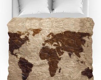 World map bedding etsy rustic world map duvet cover gumiabroncs Gallery