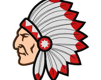 Chief Applique Embroidery Design file 4 sizes Instant Download