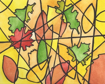 Fall Leaves Cubism Watercolor Painting Print