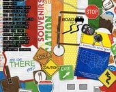 Road Trip Digital Scrapbook Kit with camper, road signs, map, luggage tag, keys, punch labels and travel clipart in red, blue, yellow, green