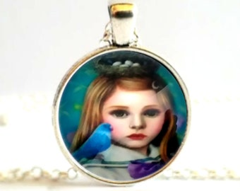 Blonde Girl with Bluebird and Birdsnest Cabochon Necklace Pendant or Brooch Pin