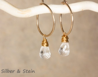 Gold hoops with rock crystal