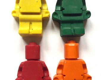 50 LEGO ® Brick Minifigure Party Favor Shaped Crayons Birthday Decoration or Craft