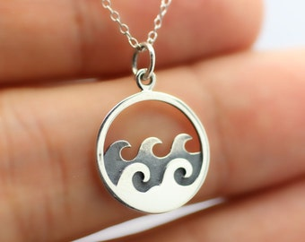 OCEAN WAVES NECKLACE - 925 Sterling Silver - Beach Ocean Nautical Jewelry Sun