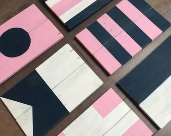 Nautical Signal Flags - Wood Nautical Signal Flags - Pink for a Girls Room!