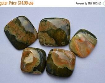 20% OFF Natural Rhyolite Gemstone Cabochon,  5 Pcs Lot Rain forest Jasper Wholesale Lot Rhyolite, R01371