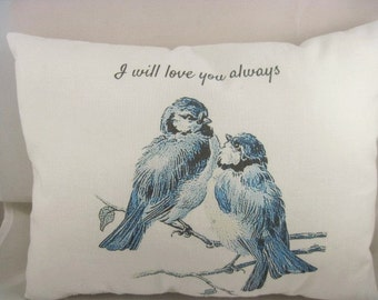 blue bird pillow,wedding gift,quote pillow,small pillow,home decor,pillows,bridal shower,blue birds,pillow art,white pillow