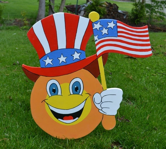 July 4th Independence Day Happy Face Ground Stake Lawn Art